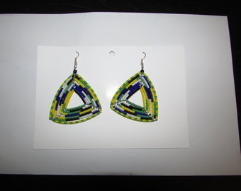 African Triangle Beads Earrings