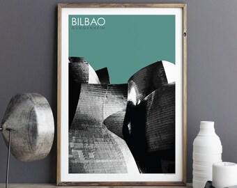 City Prints - Bilbao Art Print - Travel Poster - Architectural Print - GUGGENHEIM - Large Wall Art Prints