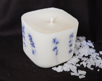 Large Soya Wax Lavender Candle - Xmas, Christmas Table Centre Piece - Gothic, Scary - Natural Colour with dried lavender
