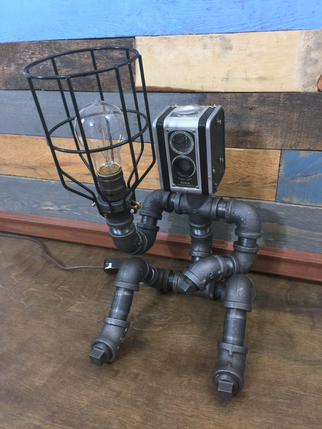 Robot lamp pipe lamp industrial decor steampunk lighting for Steampunk furniture diy