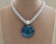 Necklace, Chainmaille, Dichroic Glass Pendant, Byzantine Chain, Handmade