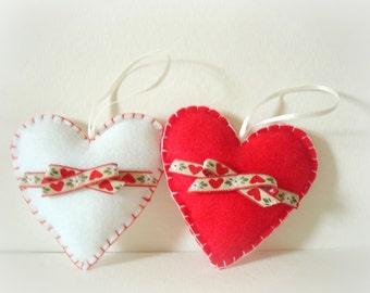 Heart Christmas Tree Decoration. Felt  Ornament. Felt Holiday Ornament. Felt heart Ornament. Christmas tree decoration