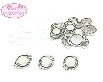 20 connectors silver matte + 20 cabochons glass 14mm