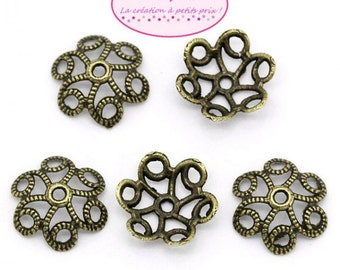 100 cups Bronze for 18mm beads
