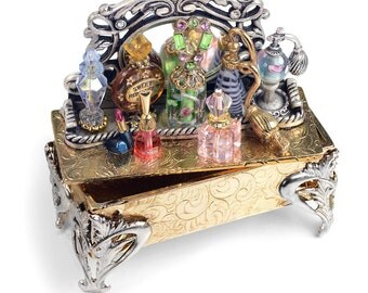 Vintage Perfume Tray Storybox, Collectible Story Box, Miniature Jewelry Box, Perfume Bottles, Mini Jeweled Box, Keepsake Box, Treasure BX300