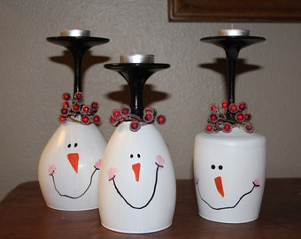 Snowman Christmas wine glass candle holder Christmas