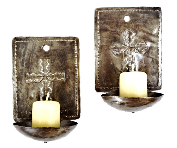 """Wall Sconces Candle Holders Cross Design , Haiti (candles not included)  4"""" x 6"""" x 3"""""""
