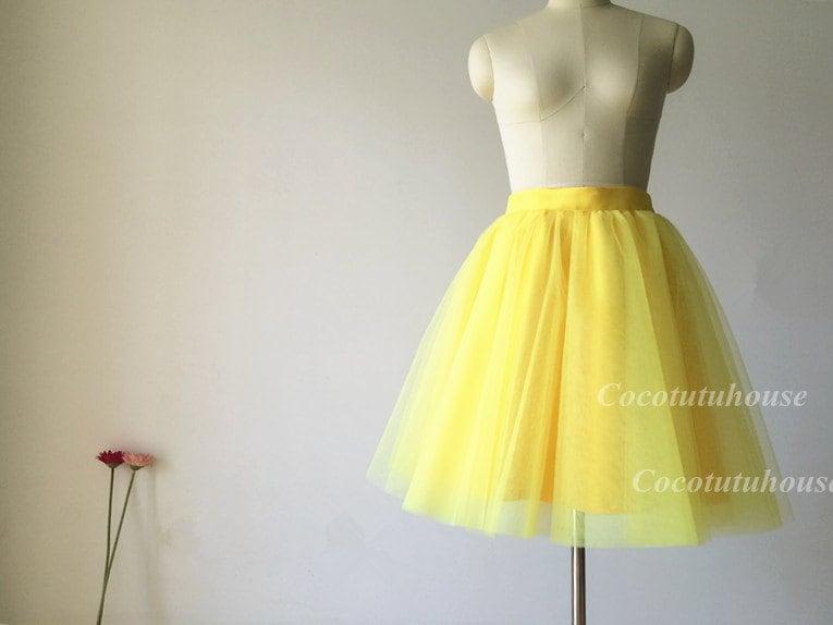 Light Gray Bridesmaid Dresses Knee Length Soft Tulle: Bright Yellow Tulle Skirt/Women Tulle Skirt/ Women Tulle