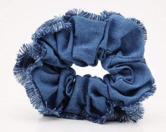 Frayed Edge Trim Denim Hair Accessory Scrunchies Women Denim Hair Accessories