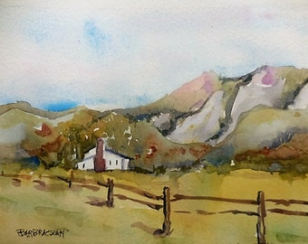 Country Watercolor, country landscape, Original watercolor