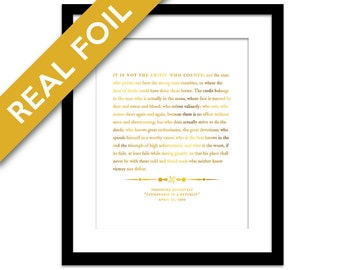 Theodore Roosevelt Man in the Arena Speech Gold Foil Print - Inspirational Motivational Art - Graduation Gift - American History - Political