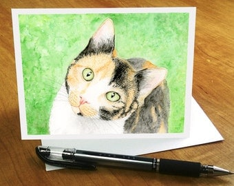 Calico Cat notecards Watercolor cat stationery Gift for cat lover sweet Calico Cat Tortie Cat lover gift for woman Watercolor cat stationary