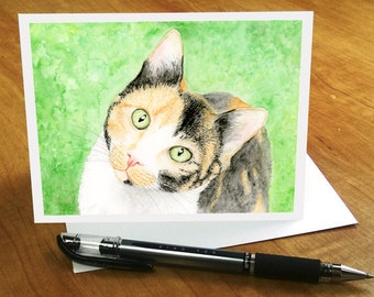Cat Greeting Card, Cute Cat card, Calico Cat Card, Sweet Cat Watercolor Cat Card, Cat Thank You Card, Calico Cat Birthday Card for Cat Lover