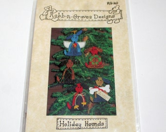 Pattern: Christmas Tree Dog Ornament--Holiday Hounds--Quilting--Shipping Included