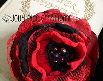 FABRIC FLOWER BROOCH Ruby Red (Medium) - Hand-made multi-layered corsage with sparkly beaded centre - ruby/red/black - Free Uk postage