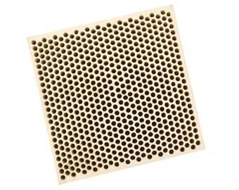 Honeycomb Ceramic Block Soldering Square 75 x 75 x 12.5 MM w/ 585 Holes (2 mm Dia.) - SOLD-0062