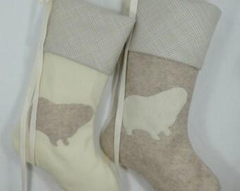 Pet Christmas Stocking Guinea pig Hedgehog Vogue 8.5x20'' fun Pinkismart ivory sandstone felt