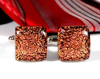 Red Dichroic Glass Cufflinks, Gift for Him, Valentines Day