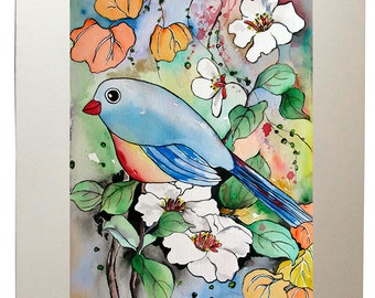Blissful Chubby Bird Watercolor Painting Art Prints from Original Artwork, Matted to 11x14