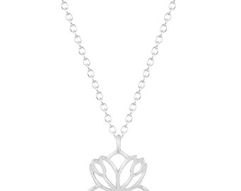 Sterling Silver Lotus Flower Necklace, Silver Lotus Necklace, Flower Necklace, Yoga Jewelry, Lotus Flower Charm Necklace, Lotus Pendant