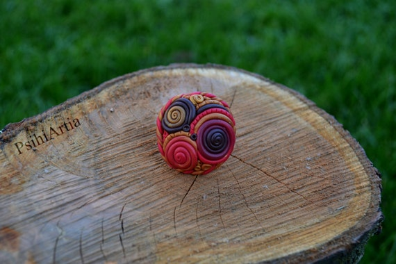 Polymer clay creations Polymer clay ring Spiral ring Swirl ring GIft for her Ring jewelry Colorful ring One of a kind rings Red ring