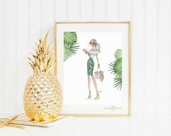 "Spring/Summer16 Fashion illustration print, ""Welcome to Miami"",Fashion sketch,Fashion art print,Fashion illustration sketch,Monstera print"