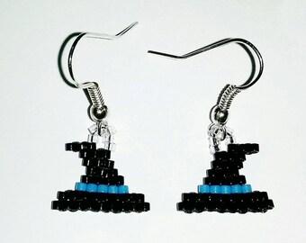 Witch Hat earrings ' blue '