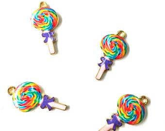 Kawii Rainbow Enamel Lollipop Charms 4pcs