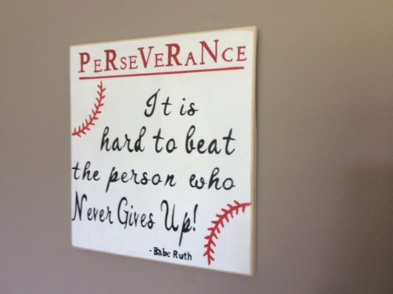 Persistence Motivational Quotes: Baseball Sign With Babe Ruth Quote Perseverance