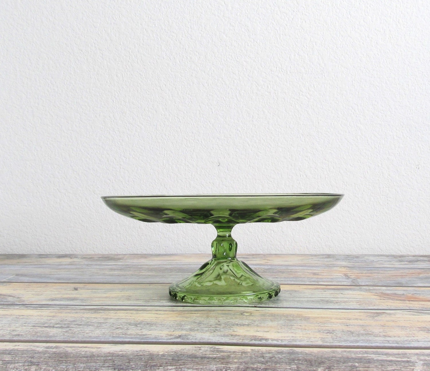 Pedestal cake plate vintage glass cake stand pie stand for Colored glass cake stand