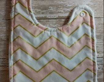 Baby Bib- Blush, white and Gold Chevron Baby Bib, Personalized Baby Bib, Monogram Bib, Embroidered Baby Bib, Minky Baby Bib, Girl or Boy Bib