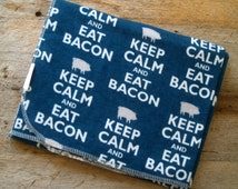 Extra Large BACON Flannel Receiving Blanket- Keep Calm and Eat Bacon- Navy Blue-Swaddle/Baby Blanket-Nursery-Baby Shower Gift