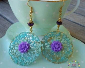 Boho Earrings Patina Earrings Chandelier Earrings Verdigris Earrings Teal Earrings Gypsy Dangle Earrings Gift for Her