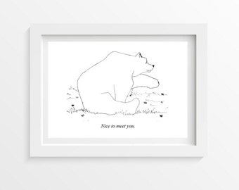 Hand drawn bear postcard - printed on thick paper