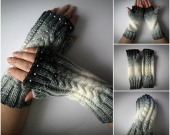 knitted mittens. Women's knit fingerless Knit gloves Winter fingerless gloves.handmade