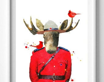 Mountie Moose Print,Canada print,painting,watercolor,art,Pic No 119