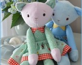 PDF sewing pattern kitten soft toy, Stuffed doll Plushie,    'KARLA KITTEN'