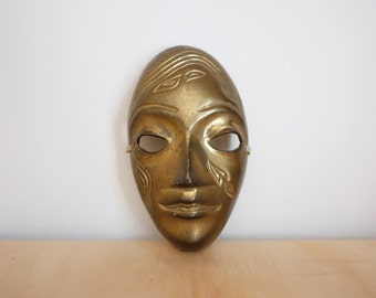1960's Solid Brass Theatre Face Mask