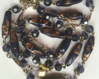 Vintage Dark Blue and Gold Rust Glass Bead Two Strand Necklace/Translucent Faceted Beads/Long Twisted Beads/Czech Glass/Flower Box Clasp