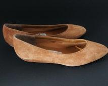 Vintage 80s Copper Suede Shoes, Size 6 Half Low Heels, Leather Flats Secret Shoes Flexible Sole Cloth Insole