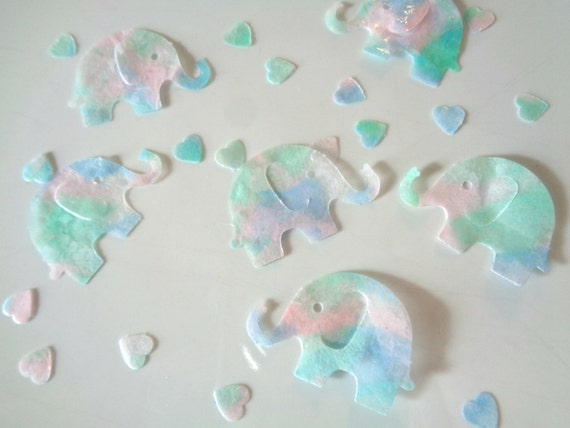 Elephant confetti elephant decorations baby shower for Baby confetti decoration