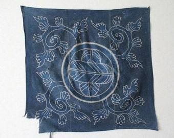Japanese vintage indigo tsutsugaki textile
