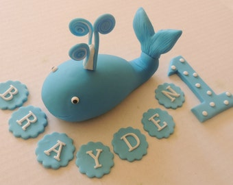 Under the Sea Whale Cake Topper - Deluxe Set -Whale, Age Number, Name - Birthdays, Beach Party, Summer Party