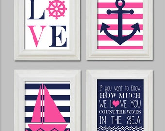 Nautical Nursery, Nautical Art Prints, Set Nautical Art Prints, Anchor, Sailboat, Count the waves in the sea, Hot Pink and Navy Nautical