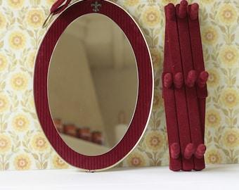 oval mirror, granny chic mirror set, mirror velvet, accordion coat stand, gift Christmas, retro wall hooks, boho mirror, shabby chic mirror