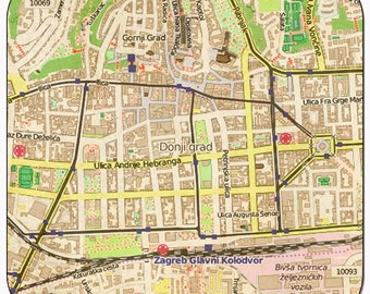 Zagreb Vintage Map Coasters