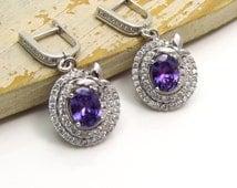 Amethyst Earrings with Silver Butterfly Design, Sterling Silver Amethyst Earrings,925 Silver Amethyst Dangle Earrings, February Birthstone