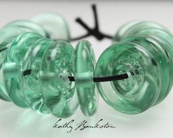 Green Disc Beads, Green Lampwork Disk Beads, Green Lampwork Beads, Green Disk Beads, Disk Beads, Disc Beads, Kathy Bankston