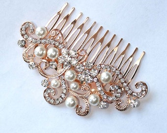 Rose Gold Veil Comb, Rose Gold Bridal Hair Comb, Rose Gold Wedding Headpiece, Rose Gold Hair Clip, Crystal Rose Gold Veil Headpiece