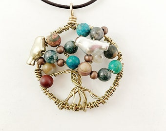 Tree of Life Necklace, Brass with Multicolor Stones and Two Birds